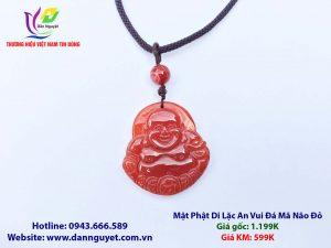 Mặt Phật Di Lặc An Vui Đá Mã Não Đỏ